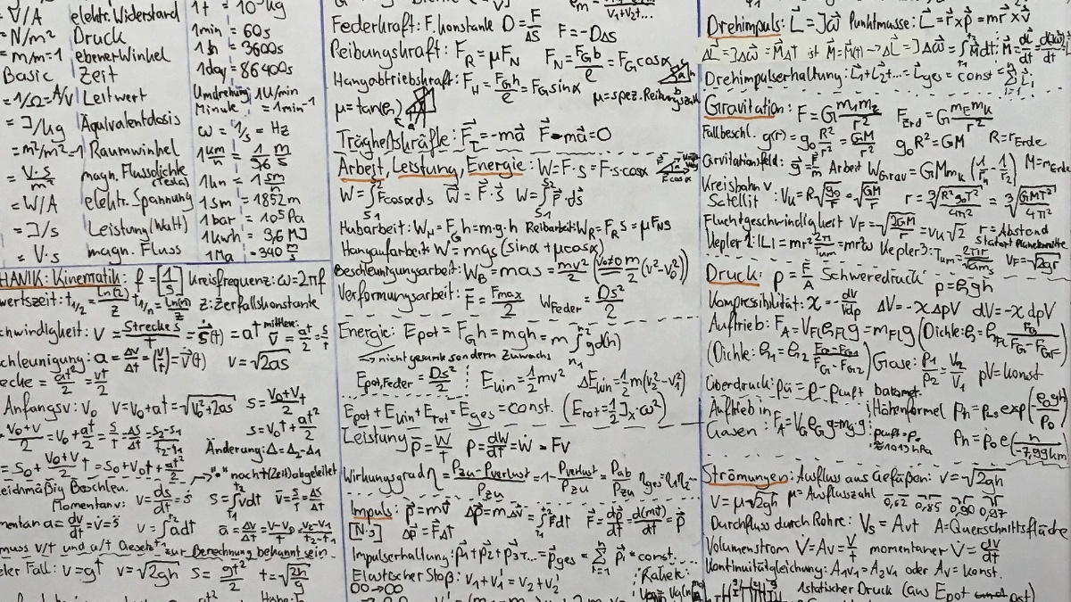 Grundlagen der Experimentalphysik I, WS17/18 Students Formulary  (c)
